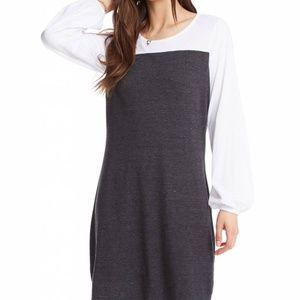 Blocked Jersey Blouson Sleeve Mini Dress